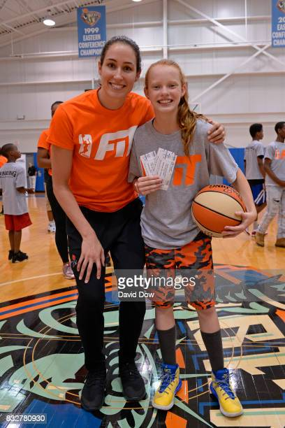 Rebecca Allen of the New York Liberty helps host a WNBA FIT Clinic on August 15 2017 at the Madison Square Garden Training Facility in Tarrytown New...