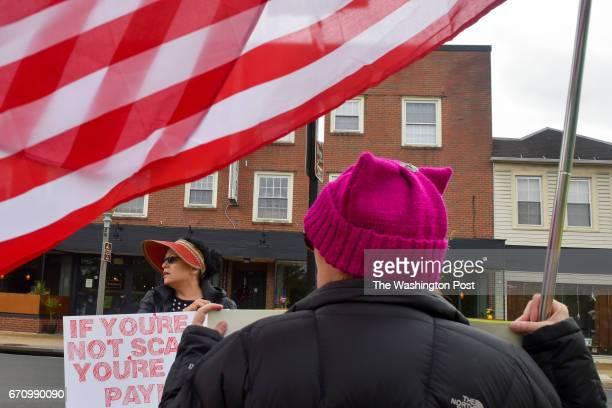 Rebecca Altizer L and Laura Henderson are among about a dozen constituents of VA 6th District Representative Bob Goodlatte who hold a weekly 'Vigil...