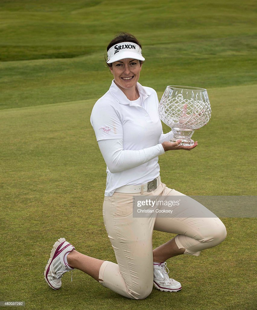 Rebecca Artis of Australia poses with the trophy after wining the Aberdeen Asset Management Scottish Ladies Open at Dundonald Links Golf Course on July 26, 2015 in Troon, Scotland.