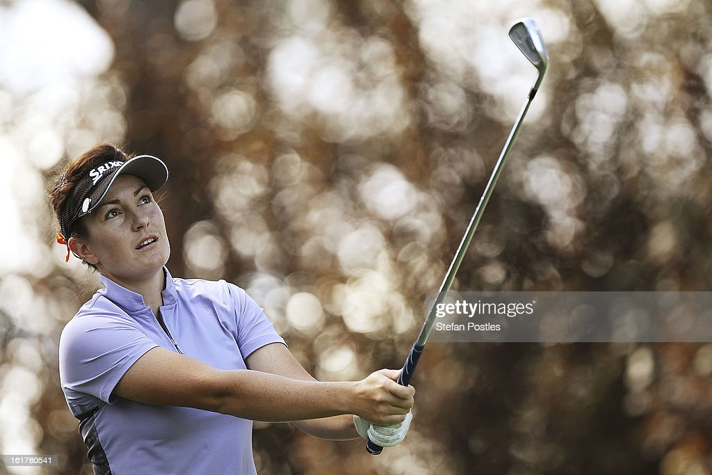 Rebecca Artis of Australia watches her tee shot off the par 3 13th during day three of the ISPS Handa Australian Open at Royal Canberra Golf Club on February 16, 2013 in Canberra, Australia.