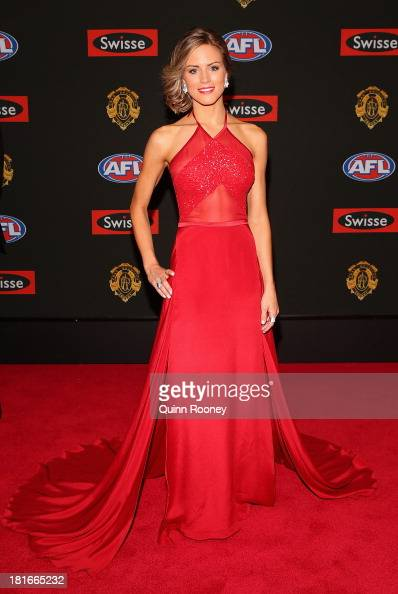 Rebecca Ashton the partner of Brad Ebert of the Power poses ahead of the 2013 Brownlow Medal at Crown Palladium on September 23 2013 in Melbourne...
