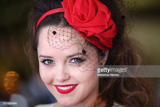 Rebecca Breeds at the Emirates marquee during Emirates Stakes Day at Flemington Racecourse on November 5 2011 in Melbourne Australia