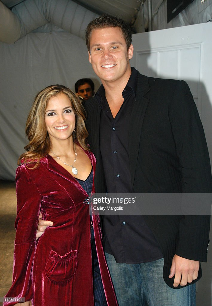 Rebecca Budig and Bob Guiney during Olympus Fashion Week Spring 2005 Backstage September 14 2004 at Theater Tent Bryant Park in New York City New...