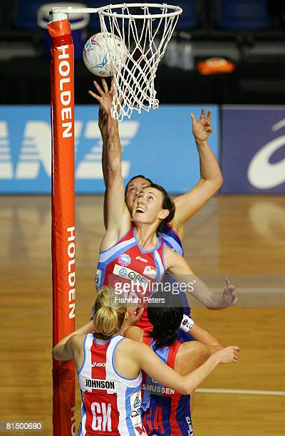 Rebecca Bulley of the Swifts secures the rebound during the round 10 ANZ Championship match between the Northern Mystics and the Sydney Swifts at...