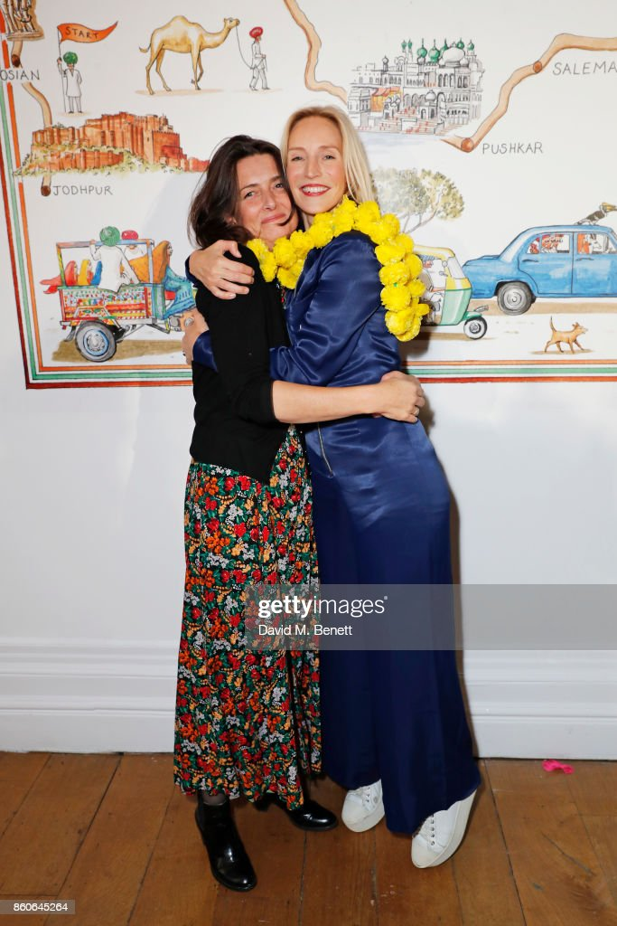 Rebecca Campbell and Founder of Elephant Family Ruth Ganesh attend the Travels to My Elephant racer send-off party hosted by Ruth Ganesh, Ben Elliot and Waris Ahluwalia in association with The Luxury Collection at 1 Horse Guards Avenue on October 12, 2017 in London, England.