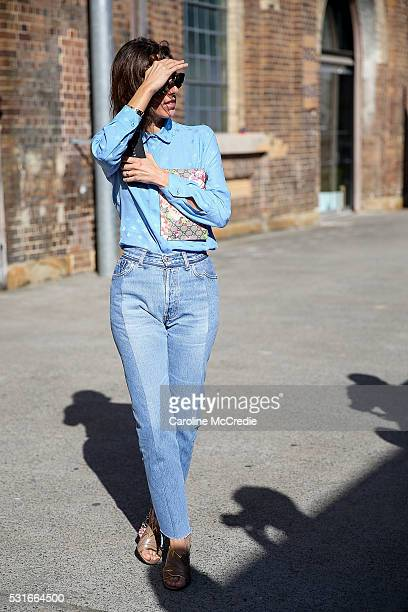 Rebecca Caratti wearing Vetements pants and Gucci handbag arrives ahead of the Ginger and Smart show at MercedesBenz Fashion Week Resort 17...