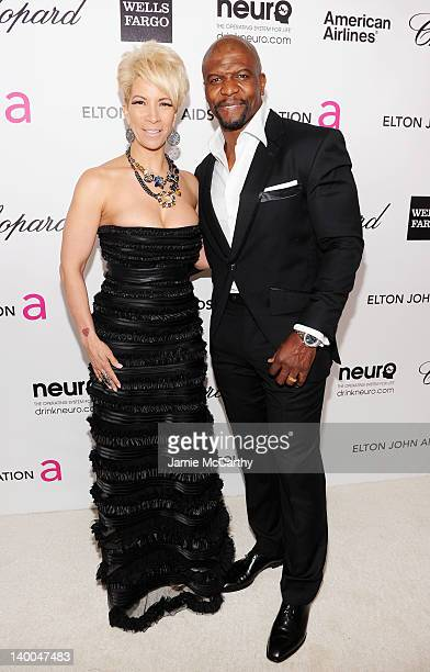 Rebecca Crews and Terry Crews arrive at the 20th Annual Elton John AIDS Foundation Academy Awards Viewing Party at The City of West Hollywood Park on...