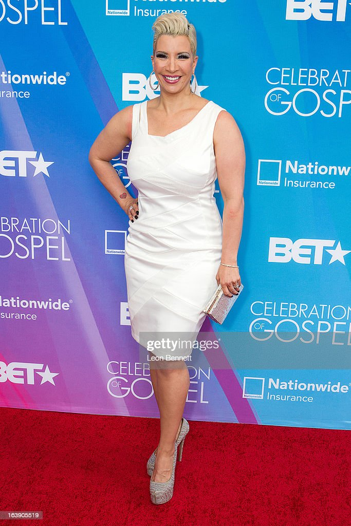 Rebecca Crews arrives at the BET Network's 13th Annual 'Celebration of Gospel' at Orpheum Theatre on March 16, 2013 in Los Angeles, California.