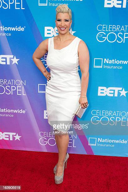 Rebecca Crews arrives at the BET Network's 13th Annual 'Celebration of Gospel' at Orpheum Theatre on March 16 2013 in Los Angeles California