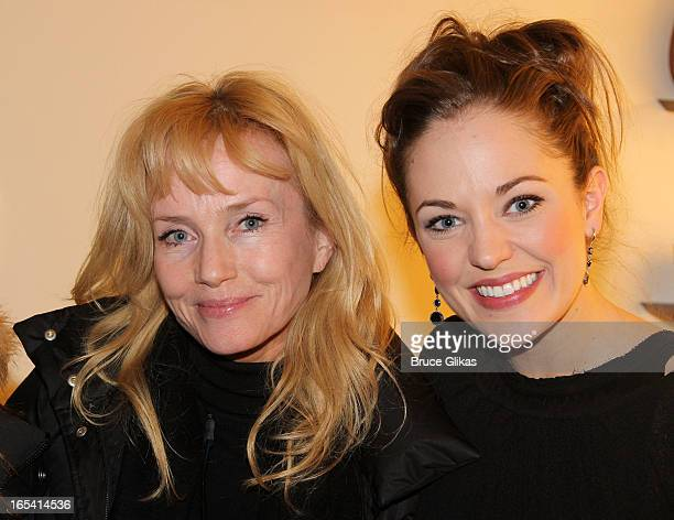 Rebecca De Mornay and Laura Osnes pose backstage at the hit musical 'Cinderella' on Broadway at The Broadway Theater on April 3 2013 in New York City