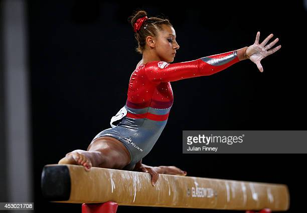 Rebecca Downie of England competes in the Women's Beam Final at SSE Hydro during day nine of the Glasgow 2014 Commonwealth Games on August 1 2014 in...