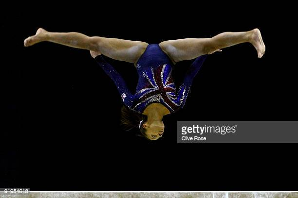 Rebecca Downie of Great Britain competes in the balance beam event during the Women's All Round Final on the fourth day of the Artistic Gymnastics...