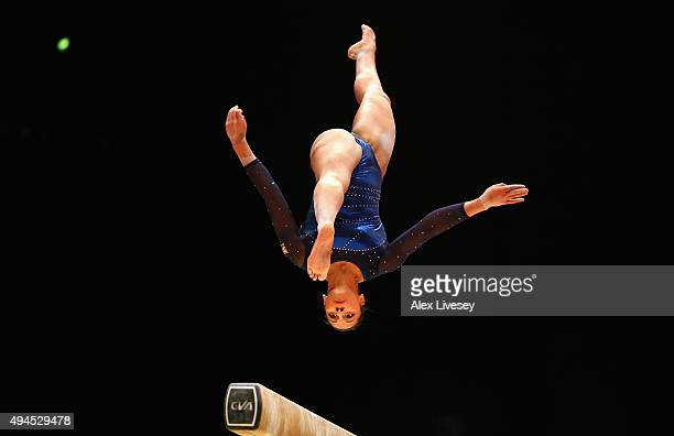 Rebecca Downie of Great Britain competes in the Beam during Day 5 of the 2015 World Artistic Gymnastics Championships at The SSE Hydro on October 27...
