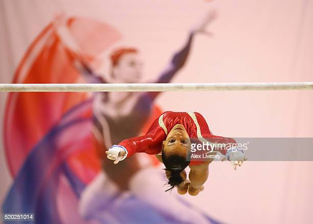 Rebecca Downie of Great Britain competes in the Uneven Bars during the British Gymnastics Championships at the Echo Arena on April 10 2016 in...