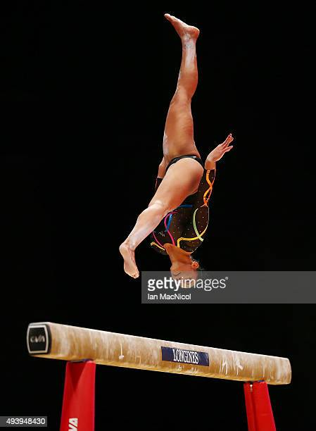 Rebecca Downie of Great Britain competes on the Beam during Day One of the 2015 World Artistic Gymnastics Championships at The SSE Hydro on October...