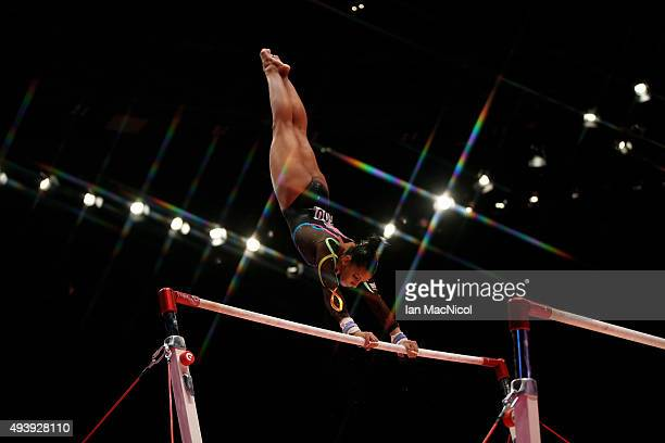 Rebecca Downie of Great Britain competes on the Uneven Bars during Day One of the 2015 World Artistic Gymnastics Championships at The SSE Hydro on...
