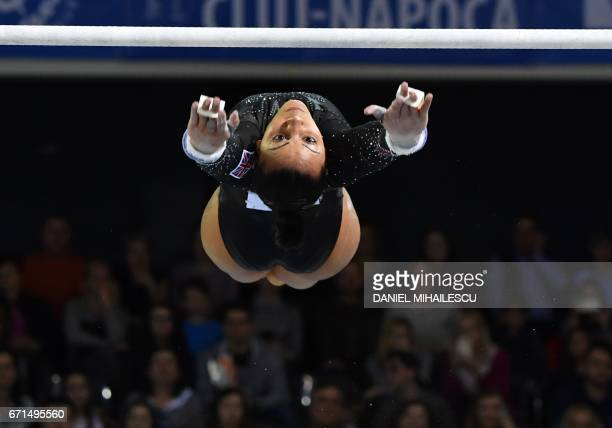 TOPSHOT Rebecca Downie of Great Britain performs during women uneven bars apparatus final at the European Artistic Gymnastics Championship in...