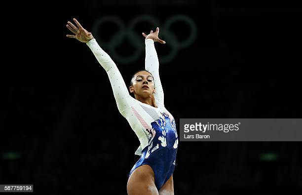 Rebecca Downie of Great Britain reacts competing on the balance beam during the Artistic Gymnastics Women's Team Final on Day 4 of the Rio 2016...