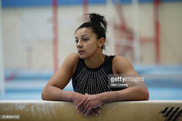 Rebecca Downie of the British Gymnastics Team looks on during a training session at Lilleshall National Sports Centre on March 9 2016 in Shropshire...