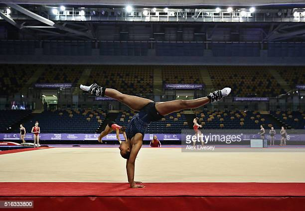 Rebecca Downie of the British Gymnastics Team warms up prior to Women's National Senior Team Championships at the Emirates Arena on March 13 2016 in...