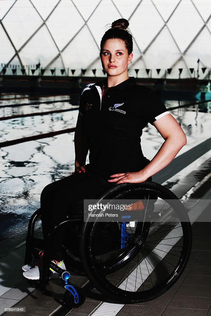 Rebecca Dubber poses for a photo after being named during the New Zealand Para-Swimming team announcement at Sir Owen Glenn Aquatic Centre on May 5, 2016 in Auckland, New Zealand.