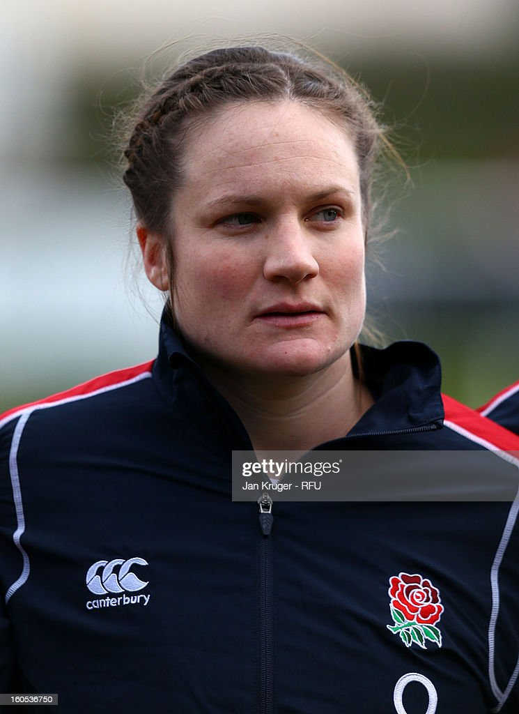 Rebecca Essex of England Women lines up for the anthem during the Womens Six Nations match between England and Scotland at Esher RFC on February 2, 2013 in Esher, England.