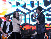 Rebecca Faulkenberry and Dan Domenech performs at the 'Rock Of Ages' Broadway Cast Reunion Concert at Highline Ballroom on January 25 2016 in New...