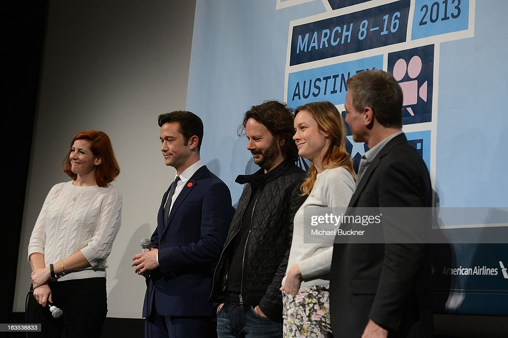 Rebecca Feferman of SXSW, director <a gi-track='captionPersonalityLinkClicked' href=/galleries/search?phrase=Joseph+Gordon-Levitt&family=editorial&specificpeople=213632 ng-click='$event.stopPropagation()'>Joseph Gordon-Levitt</a>, producer Ram Bergman, actress <a gi-track='captionPersonalityLinkClicked' href=/galleries/search?phrase=Brie+Larson&family=editorial&specificpeople=171226 ng-click='$event.stopPropagation()'>Brie Larson</a> and actor <a gi-track='captionPersonalityLinkClicked' href=/galleries/search?phrase=Tony+Danza&family=editorial&specificpeople=203133 ng-click='$event.stopPropagation()'>Tony Danza</a> speak after the film 'Don Jon's Addiction' during the 2013 SXSW Music, Film + Interactive Festival at the Paramount Theatre on March 11, 2013 in Austin, Texas.