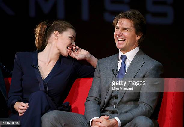 Rebecca Ferguson and Tom Cruise take part in a QA at the UK Fan Screening of 'Mission Impossible Rogue Nation' at the IMAX Waterloo on July 25 2015...