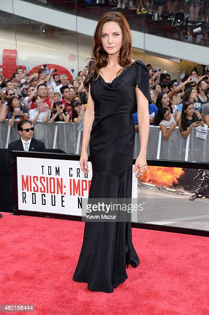 Rebecca Ferguson attends the New York premiere of 'Mission Impossible Rogue Nation' at Times Square on July 27 2015 in New York City
