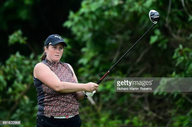 Rebecca Fores of Brondhay GCC tees off during the Lombard Trophy Women's PGA North Qualifier at Dunham Forest Golf and Country Club on June 2 2017 in...