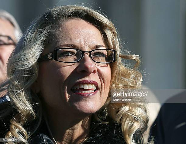 Rebecca Friedrichs speaks to the media after oral arguments at the US Supreme Court January 11 2016 in Washington DC Today the high court is hearing...