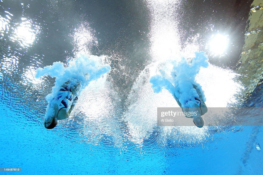 Rebecca Gallantree and Alicia Blagg of Great Britain compete in the Women's Synchronised 3m Springboard final on Day 2 of the London 2012 Olympic Games at the Aquatics Centre at Aquatics Centre on July 29, 2012 in London, England.