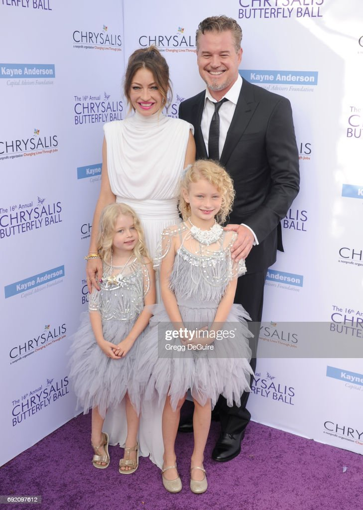 Rebecca Gayheart, Eric Dane, Georgia Dane and Billie Beatrice Dane arrive at the 16th Annual Chrysalis Butterfly Ball at a private residence on June 3, 2017 in Brentwood, California.