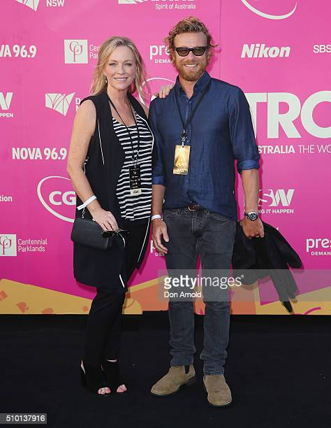 Rebecca Gibney and Simon Baker arrive ahead of Tropfest 2016 at Centennial Park on February 14 2016 in Sydney Australia