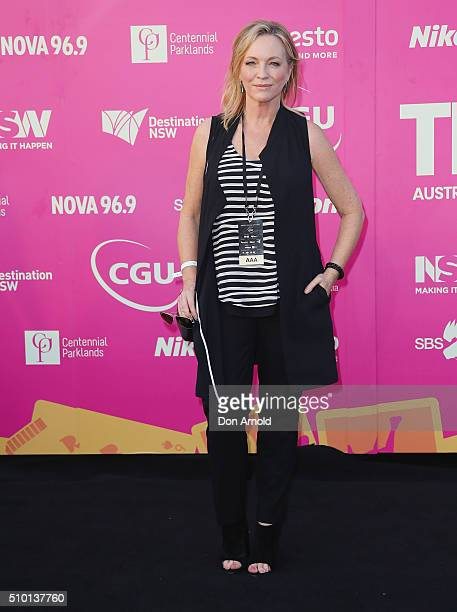 Rebecca Gibney arrives ahead of Tropfest 2016 at Centennial Park on February 14 2016 in Sydney Australia