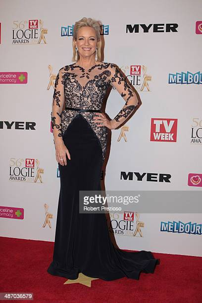 Rebecca Gibney arrives at the 2014 Logie Awards at Crown Palladium on April 27 2014 in Melbourne Australia