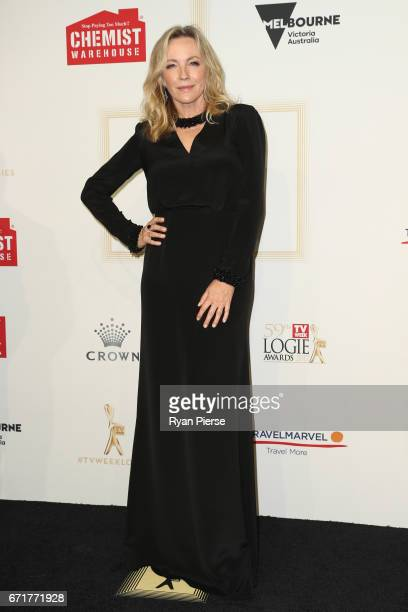 Rebecca Gibney arrives at the 59th Annual Logie Awards at Crown Palladium on April 23 2017 in Melbourne Australia