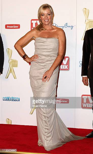 Rebecca Gibney arrives on the red carpet ahead of the 2011 Logie Awards at Crown Palladium on May 1 2011 in Melbourne Australia