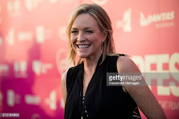 Rebecca Gibney poses on the red carpet at Tropfest at Centennial Park on February 14 2016 in Sydney Australia