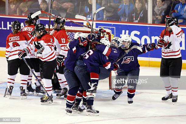 Rebecca Gilmour of Team USA celebrates the second goal by Natalie Snodgrass in the Gold Medal game against Team Canada during the 2016 IIHF U18...