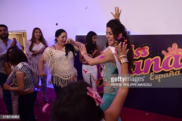 Rebecca Gimenez celebrates after winning the 'Miss Gypsy' contest in Aranjuez on June 24 2015 Organiser of the event Maria Gimenez says that this...