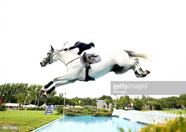 Rebecca Golasch of Germany ridding Lassen Peak going over the water jump during the Longines King George V Gold Cup at the Longines International...