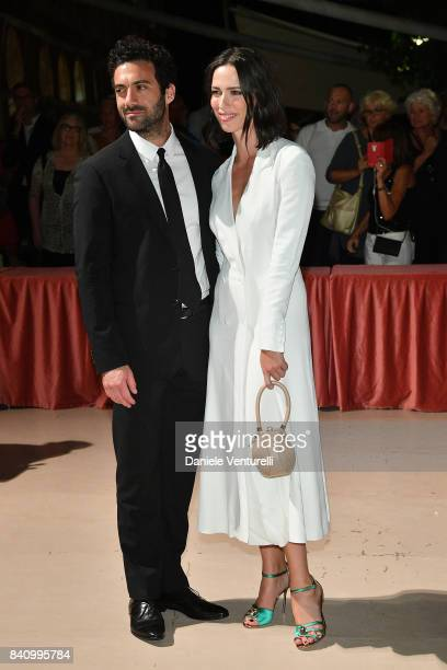 Rebecca Hall and Morgan Spector arrive at the dinner after the Opening Ceremony during the 74th Venice Film Festival at Excelsior Hotel on August 30...