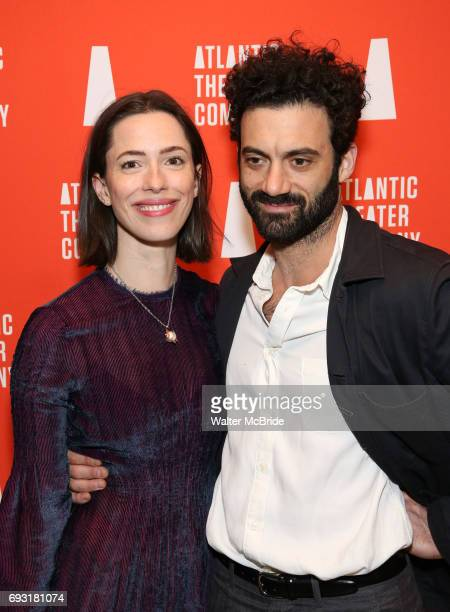 Rebecca Hall and Morgan Spector attends the Opening Night of the Atlantic Theater Company's New York Premier play 'Animal' at Jake's Saloon on June 6...