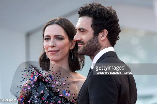 Rebecca Hall and Morgan Spector walk the red carpet ahead of the 'Downsizing' screening and Opening Ceremony during the 74th Venice Film Festival at...