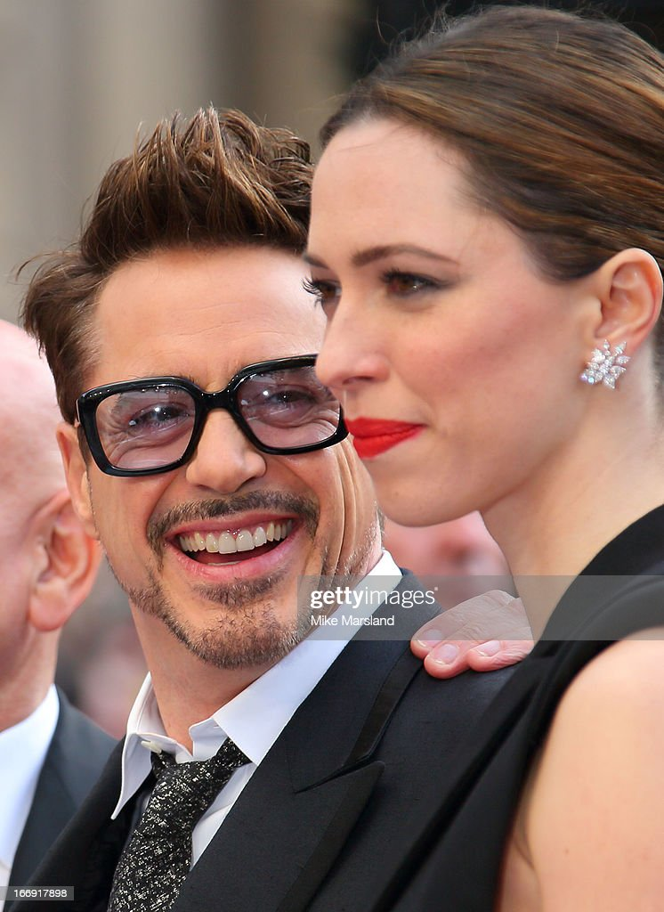 Rebecca Hall and Robert Downey Jr attend a special screening of 'Iron Man 3' at Odeon Leicester Square on April 18, 2013 in London, England.
