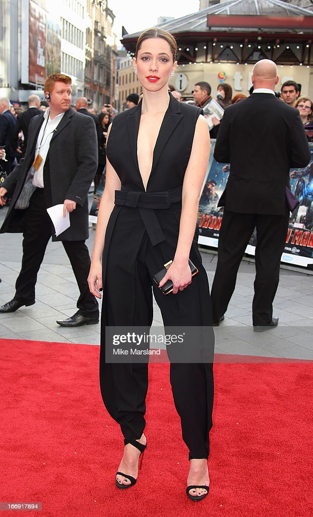 Rebecca Hall attends a special screening of 'Iron Man 3' at Odeon Leicester Square on April 18, 2013 in London, England.
