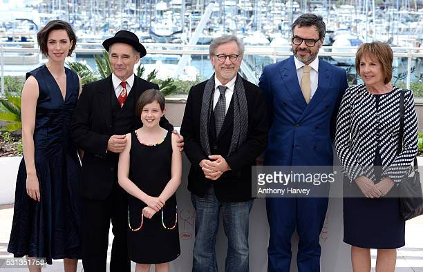 Rebecca Hall Mark Rylance Ruby Barnhill Steven Spielberg Jemaine Clement and Penelope Wilson attend 'The BFG ' photocall during the 69th annual...