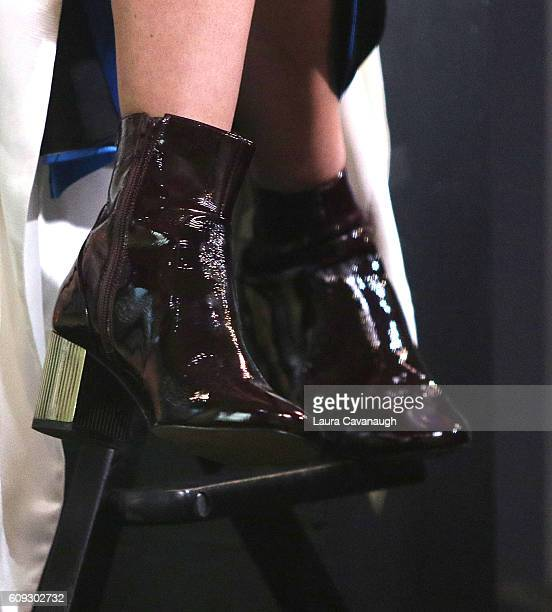 Rebecca Hall shoe detail attends The Build Series to discuss 'Christine' at AOL HQ on September 20 2016 in New York City
